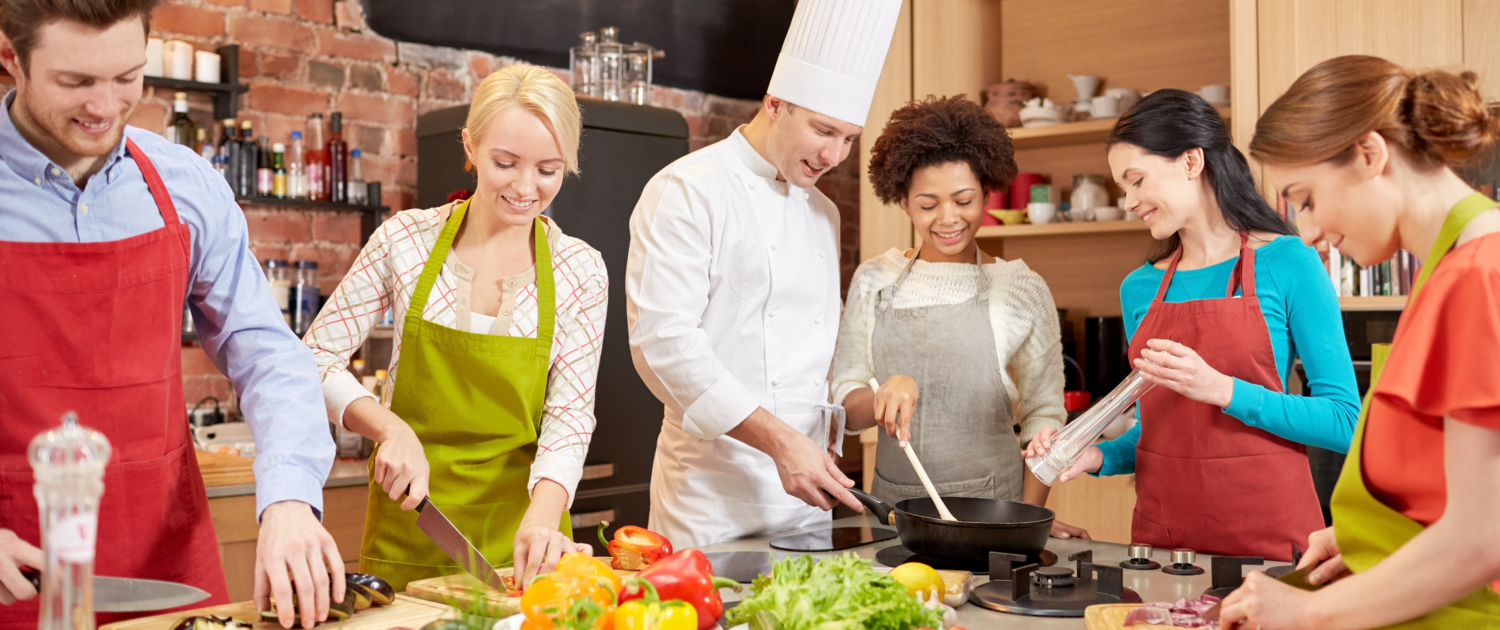 Happy Friends in a Cooking class