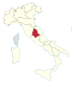 Umbria out of Italy Map