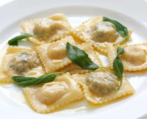 Ravioli with butter and sage